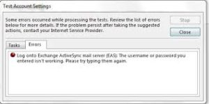 Fix Log onto Exchange ActiveSync EAS error - LME Services