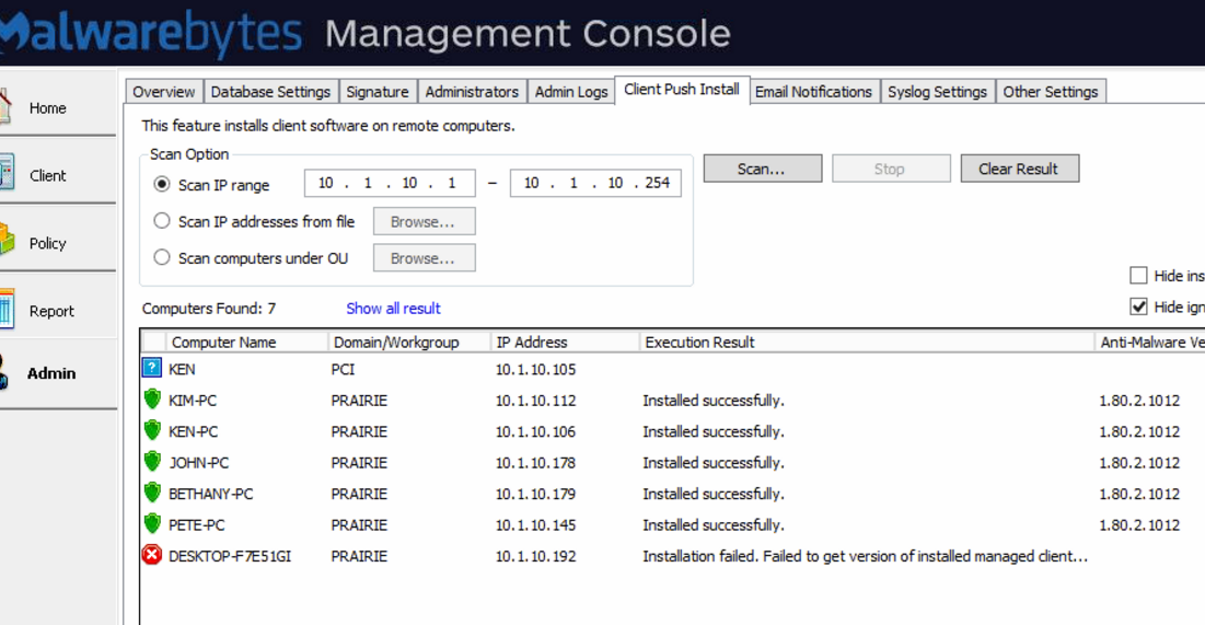 MBAM Console - Failed to open service control manager Error Code 5 FIX